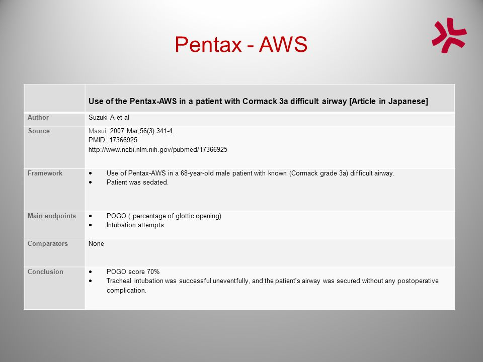 Pentax - AWS Use of the Pentax-AWS in a patient with Cormack 3a difficult airway [Article in Japanese]